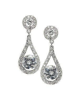 Faceted Solitaire Drop CZ Earrings
