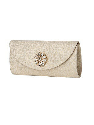 Park Avenue Brocade Clutch with Jeweled Sunflower Trim
